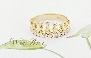 Fashion Princesses Lovely Cute Gold Color Crown Crystal Rhinestone Ring
