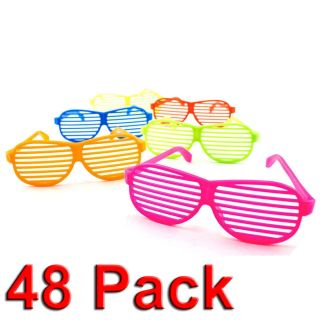 New 48pc Shutter Shades Hip Hop Glasses Multiple Colors Party Favors 80s Novelty