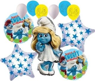 11pc Smurfette Balloon Bouquet Happy Birthday Cartoon Decoration Smurfs Movie