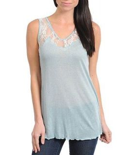 Ginger G Light Baby Blue Soft Blouse Tank Top Casual Cami Sleeveless New