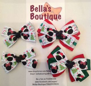 Pick Christmas Holiday Disney Mickey Minnie Mouse Boutique Hair Bow Clip Pigtail