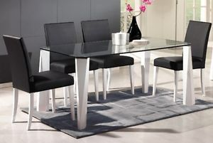 Modern Wintec Glass Top Dining Table with White Legs Side Chairs Black
