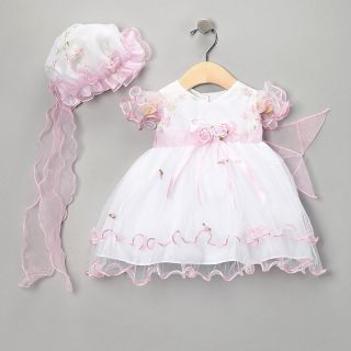 Baby Infant Girls Pretty Easter Pink Party Dress Bonnet and Dress Set 2 Pieces