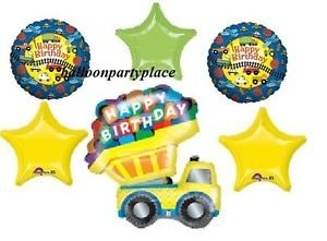 Happy Birthday Dump Truck Mylar Balloons Party Supplies GR8 1st 2nd 3rd 4th New