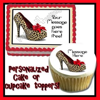 High Heel Edible Cake Topper Birthday Cheetah Leopard Skin Shoe Print Sugar 30th