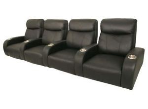 Rialto Home Theater Seating 4 Front Row Seats Black Leather Chairs