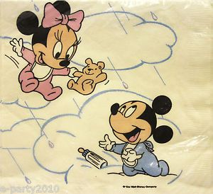 Vtg Disney Baby Mickey Minnie Large Napkins 1st First Birthday Party Supplies