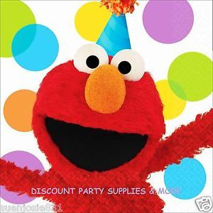 Sesame Street Dots Elmo Birthday Lunch Dinner Napkins Party Supplies
