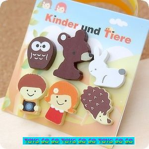 6 x Animal Wooden Magnet Bear Hedgehog Owl Rabbit Kid Party Favor Supply MAG057