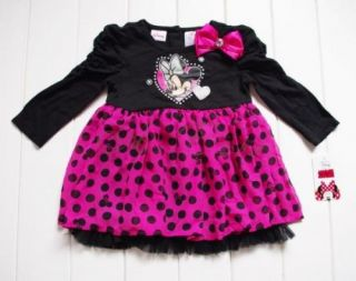 Minnie Mouse Baby Girls Long Sleeve Top Dress Pink Polka Dots Tutu Skirt Size 3T