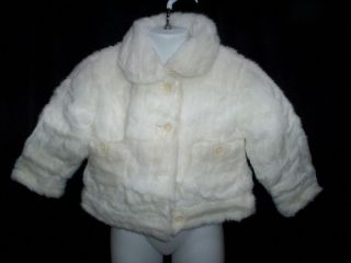 Girls Childrens Place White Faux Fur Jacket Coat Size 3T