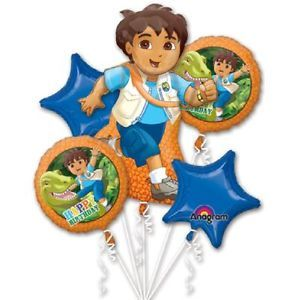 5pc Go Diego Balloons Bouquet Party Supplies Dora The Explorer Happy Birthday