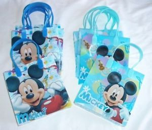 12 Pieces Light Blue Mickey Mouse Goody Gift Bag Birthday Party Favor Supply Lot