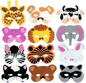 24 Foam Zoo Animal Kids Mask Assorted Party Favor Play Lion Tiger Bear Pig Cat