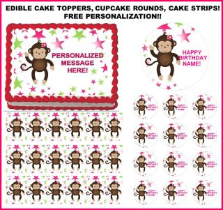 Mod Monkey Girl Baby Shower 1st Birthday Custom Edible Cake Topper All Sizes