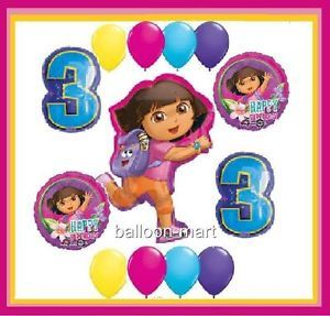 Dora The Explorer 3rd Birthday Party Supplies Balloon Kit Third Three Decoration