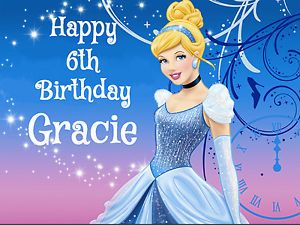 Cinderella Sparkle Edible Cake Image Topper Decoration Party Princess Disney