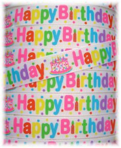 5 8 Happy Birthday Party Cake Candles Grosgrain Ribbon
