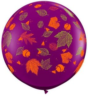 "Autumn Leaves 36"" Balloon Thanksgiving Fall Birthday Bridal School Free Ribbon"