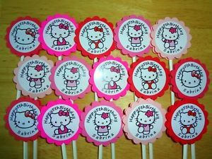 30 Hello Kitty Personalized Cupcake Toppers Birthday Party Favors Supply