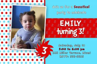 30 Personalized Birthday Party Invitations Cards Girl Boy Red Turquoise Photo