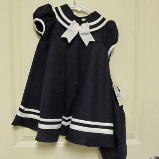 RARE Editions Sailor Dress Hat Bloomers Navy Blue 24 Months Girl Easter