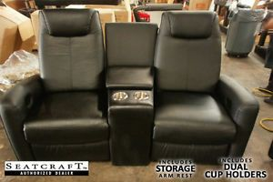Seatcraft Bella Home Theater Seating Manual Chairs Row of 2 Recliners 1 Wedge