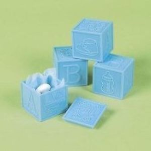 12 Baby Shower Boy Blue Blocks Boxes Box Party Favors Games Toys Prizes Gifts