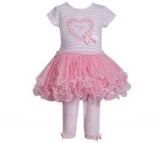 Bonnie Jean Girls Pink Valentine Heart Mesh Tutu Spring Summer Dress Leggings 4T