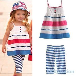Kids Baby Girls Blue Striped Straps Skirt Pants 2 Pcs Set Outfits Clothes 2 7Y
