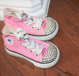 Pink All Star Converse High Tops w Bling Baby Girls Shoes Size 3 Tennis