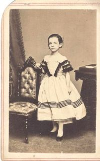 Civil War Era Young Girl in Striped Dress Posing w Ornamental Chair NY NY