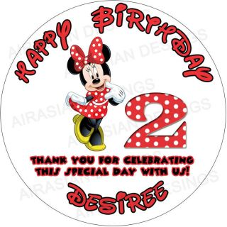 Disney Minnie Mouse Red Polka Dot Favor Bag Lollipop Sticker Labels