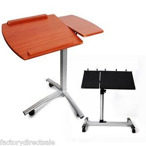 Angle Height Adjustable Rolling Laptop Desk Cart Bed Hospital Table w Split Top