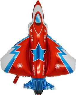"36"" Balloon Red Fighter Jet Party Air Force Plane Favors Airplane Army Top Gun"