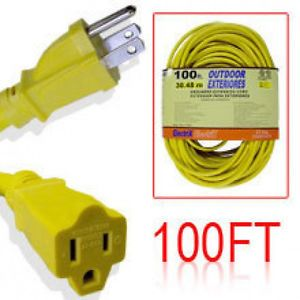 100 Foot Yellow 12 Gauge Wire 12 3 Power Cord Electric Electrical Extension