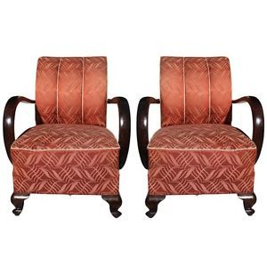 Pair French Art Deco Curved Arm Solid Walnut Club Chairs Circa 1940'S