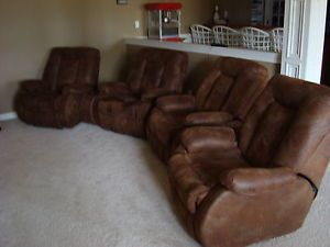 4 Brown Suede Recliner Home Theater Seating Club Chairs and 3 Consoles