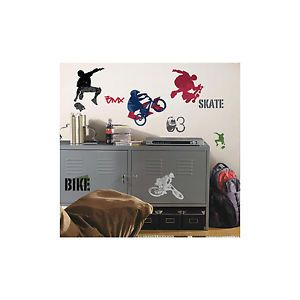 Extreme Sports Wall Stickers 25 Decals Bike BMX Skateboard Room Decor