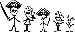 Pirate Skull Stick Figure Family Window Decal Custom Made