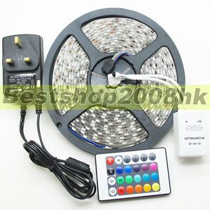 5050 SMD 300 LEDs 5M RGB 60leds M Waterproof Flexible Strip Lights 12V Party UK