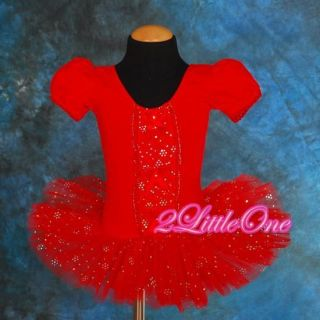 Girl Red Ballet Tutu Dance Costume Fairy Fancy Dress Leotard Toddler 3T 4T 020