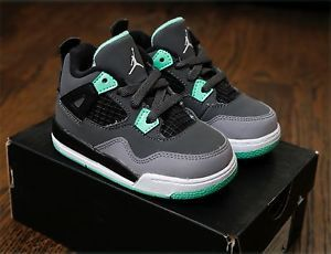 New Nike Air Jordan Retro 4 IV Green Glow Grey Toddler 100 Authentic DS 4c 10c