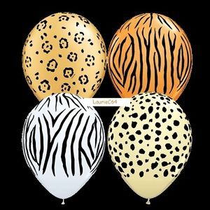 Safari Animal Print Baby Shower Birthday Party Balloons Decoration Supplies