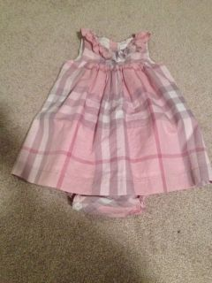 100 Authentic Baby Burberry Infant Girl Pink Nova Check Dress 12 Months
