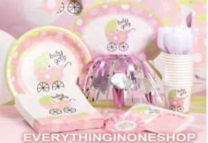 Baby Girl Shower Carriage Party Extra Supply Cups Napkins Plates Invitations Ect