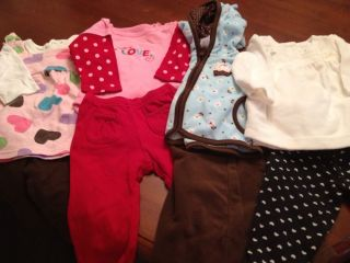 Lot of 6 Month Baby Girl Clothing Shirts and Pants 4 Complete Outfits