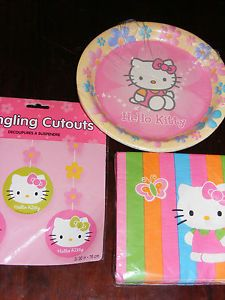 Hello Kitty Birthday Party Plates Hanging Decoration Napkins Lot Neon Pink New