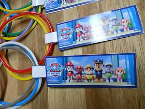 10 Sets Paw Patrol Birthday Party Favor Bracelets w Custom Thank You Tag