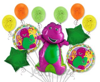 11pc Lot Barney Friends Happy Birthday Balloon Bouquet Decoration Dinosaur
